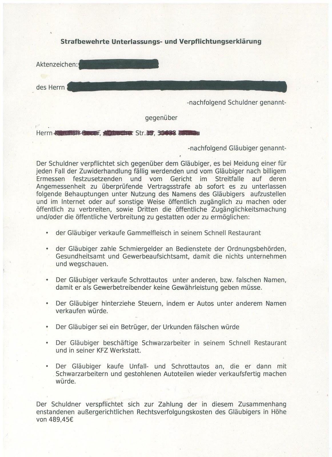 muster einer strafbewehrten unterlassungs erlrung eines rechtsanwalts - Strafbewehrte Unterlassungserklarung Muster