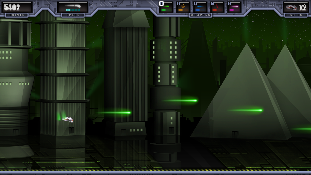 Testing the Alien city - a predominantly green level, for its compatibility with the player's green lasers.
