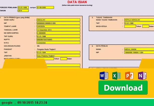 Aplikasi Penilaian Kinerja (PK) Guru Golongan II B dengan Microsoft Excel