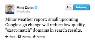matt cutts on exact match domain