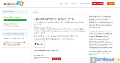 Menukarkan poin OpinionWorld Indonesia | SurveiDibayar.com