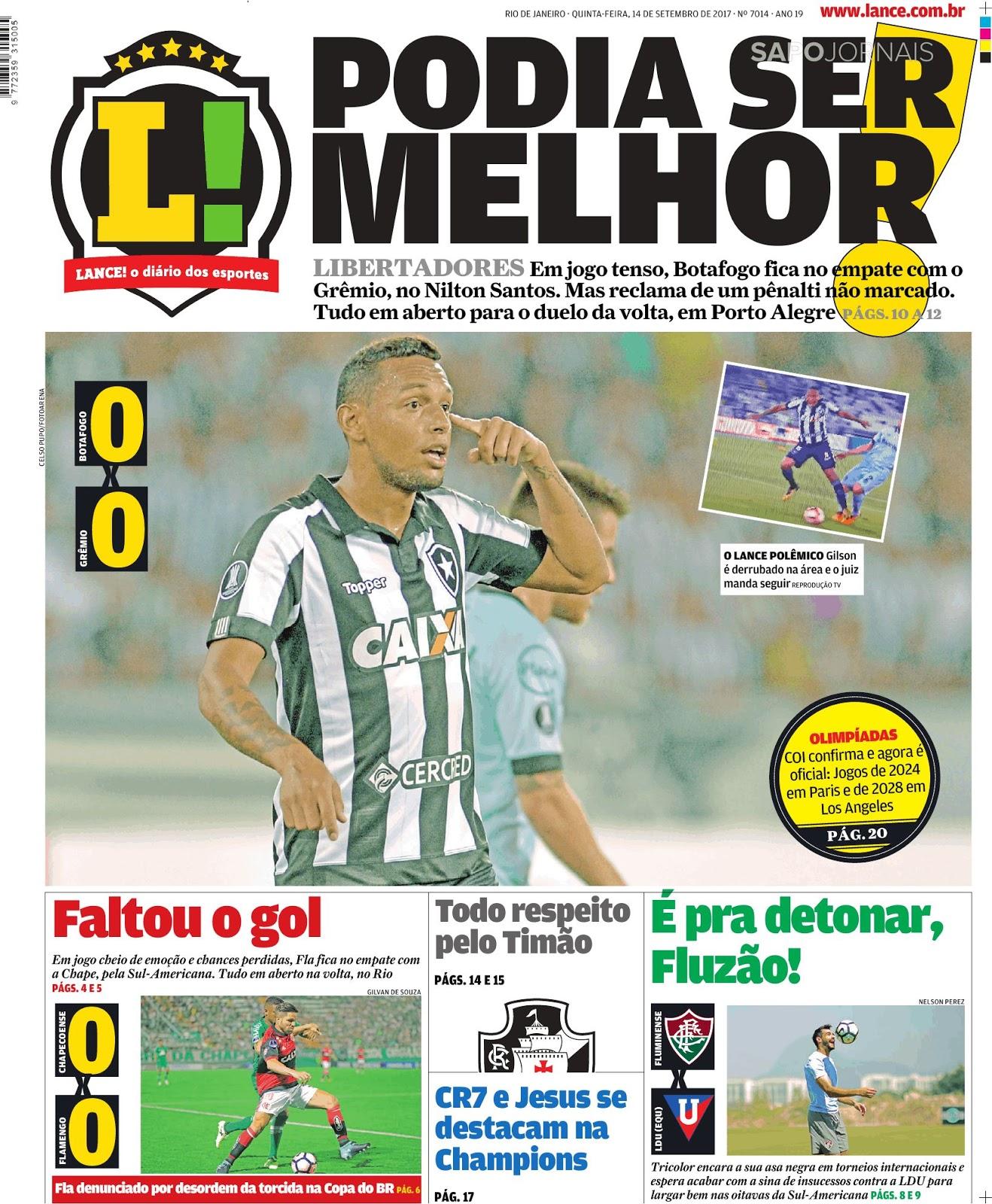cbee0ada31327 Botafogo empata no Nilton Santos e decidirá vaga com Grêmio em Porto Alegre  - Sul-Americana  tudo igual também entre Chape e Flamengo