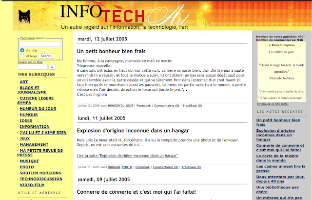 page d'accueil du site web infotechart.com de juillet 2005
