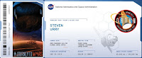 Steven's name is engraved on the rocket. Mission status completed.