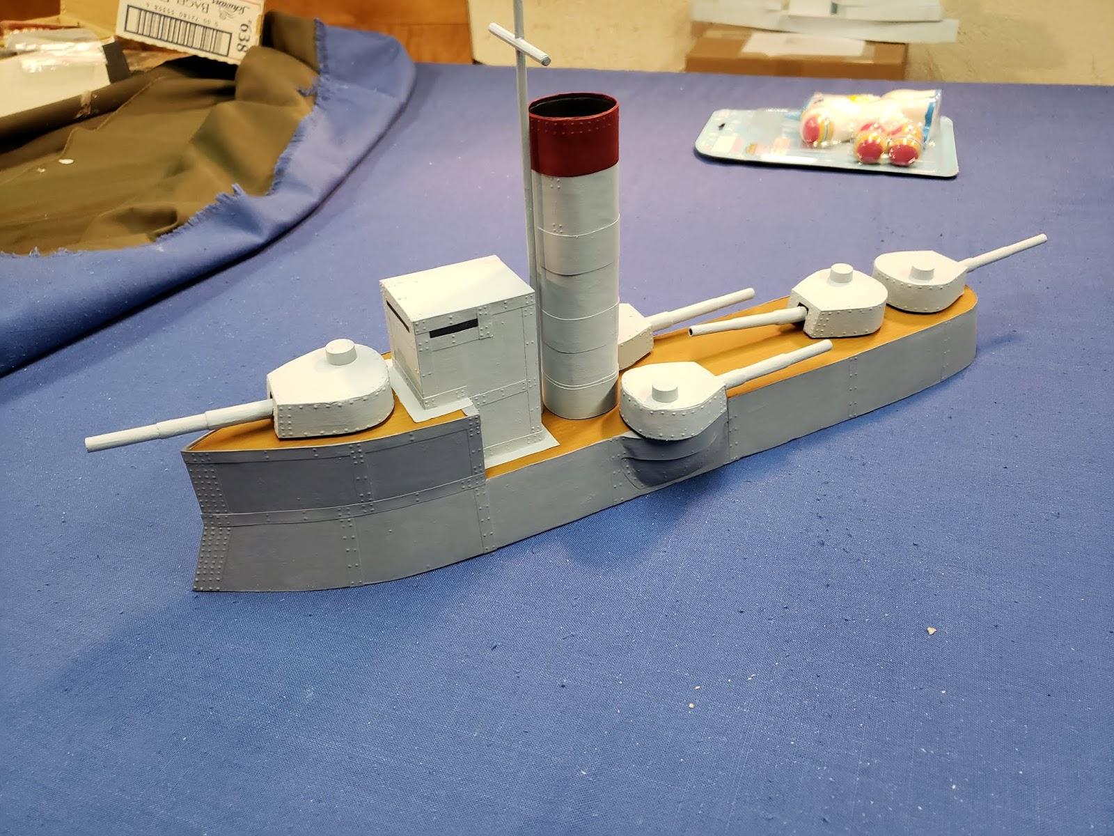 Anton's Wargame Blog: Scratchbuilt Ironclad Cruiser 28mm