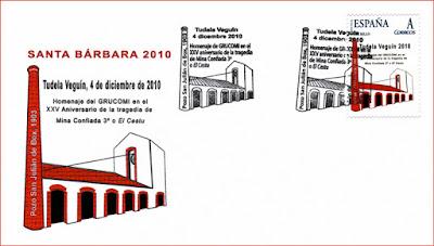 Sobre con matasellos del homenaje al XXV Aniversario de la tragedia de la mina Confiada 3º o el Cestu, Grucomi, Tudela Veguín 2010