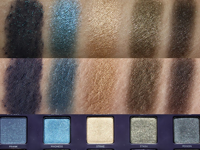 Urban Decay Vice 2 Palette: Prank, Madness, Strike, Stash, Poison Swatches