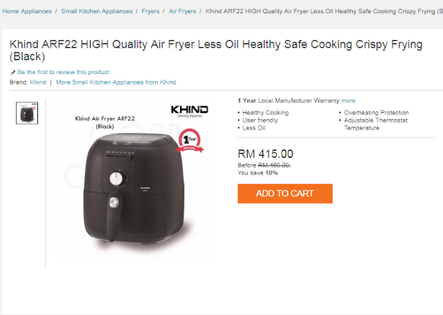 KHIND ARF22 HIGH QUALITY AIR FRYER LESS OIL HEALTHY SAFE COOKING