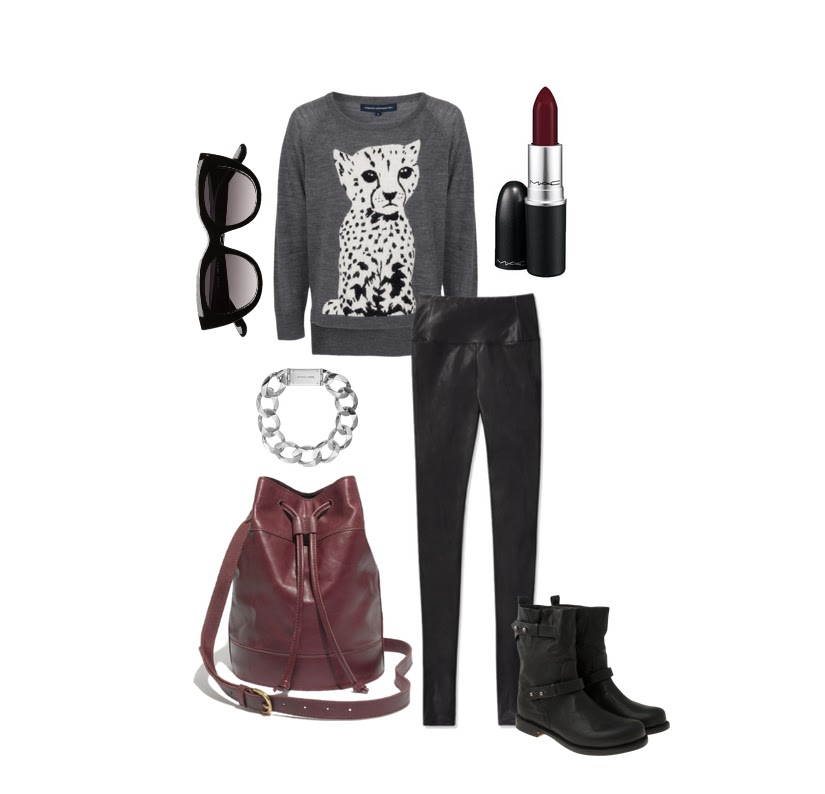 faux leather leggings moto boots animal sweater
