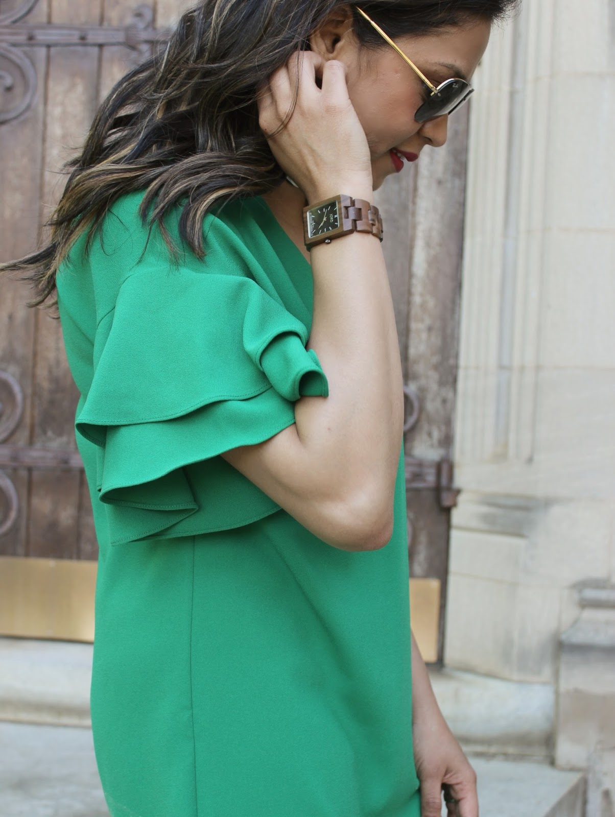 Zara green dress with ruffles, spring outfit, fashion, ootd, outfit, street style, square scarf, printed heels, saumya , MM