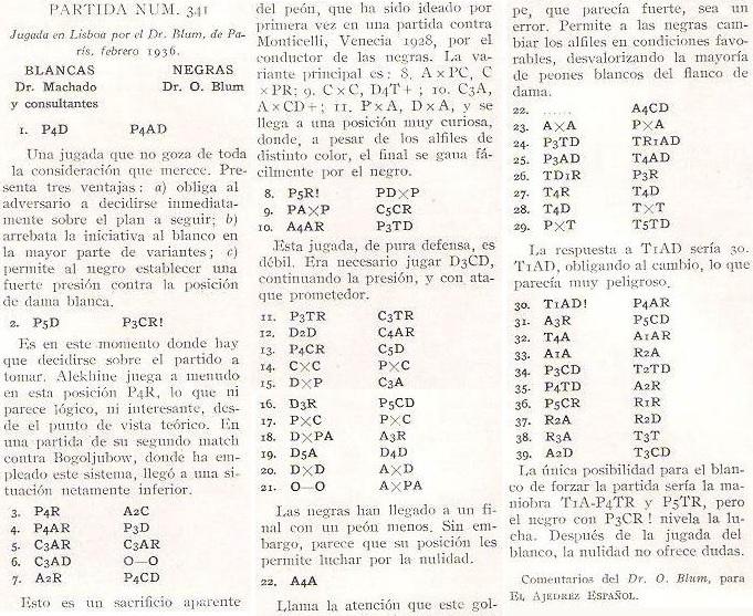 Partida de ajedrez Dr. Machado y consultantes contra Dr. Oscar Blum, 1936