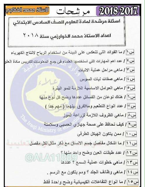 مرشحات كتاب العلوم للصف السادس الإبتدائي إعداد الأستاذ محمد الخفاجي. 2018
