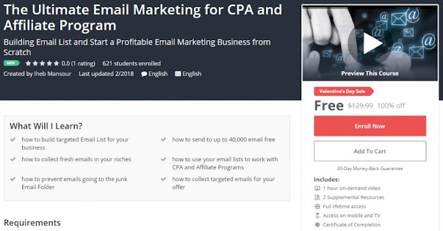 [100% Off] The Ultimate Email Marketing for CPA and Affiliate Program|Worth 129,99$