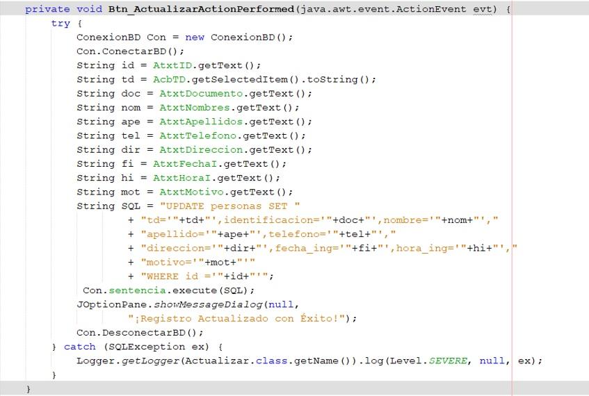 CRUD en Java Actualizar registros
