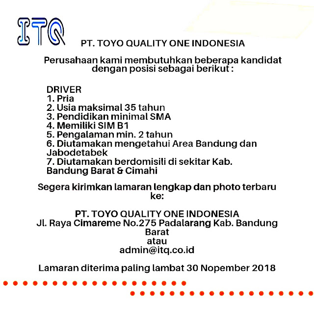 Lowongan Kerja PT. Toyo Quality One Indonesia