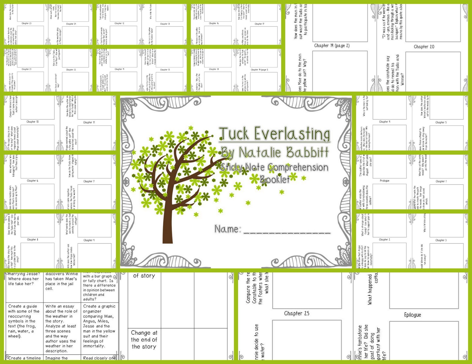 Printables Tuck Everlasting Worksheets tuck everlasting worksheets for school kaessey www irade co