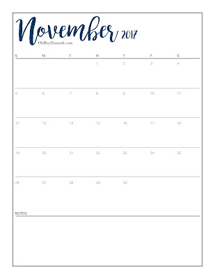 picture regarding Bullet Journal Calendar Printable identified as November 2017 Printable Calendar -