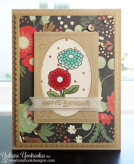 Birthday Flower Seed Packet Card by Yukari Yoshioka | Garden Starter Stamp Set & Garden Window Die | Newton's Nook Designs #newtonsnook
