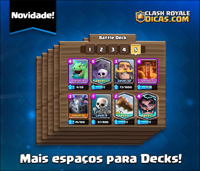 5 Slots para decks no Clash Royale