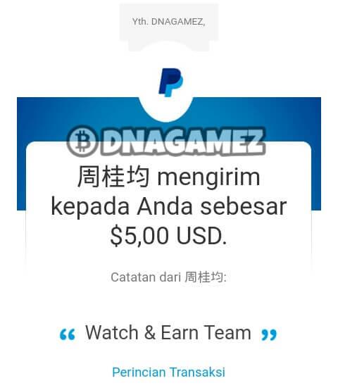 Berikut ini adalah screenshoot bukti Withdraw / Pembayaran dari aplikasi Watch & Earn (W&E):