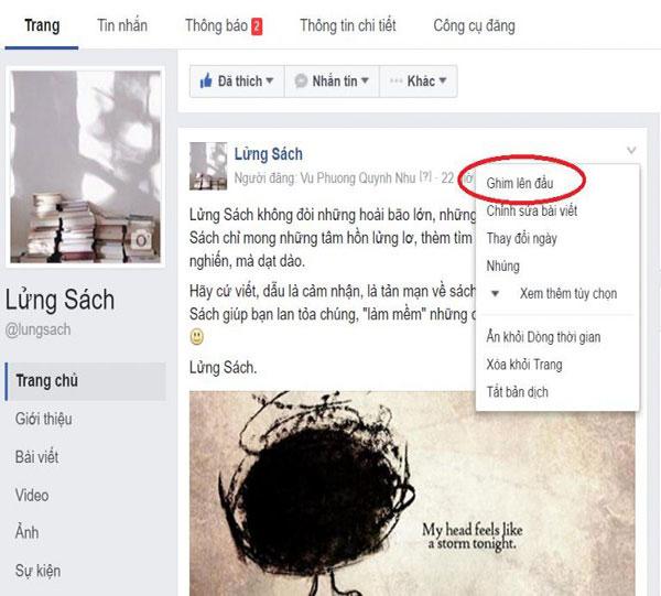 Cach ghim bai viet tren fanpage facebook