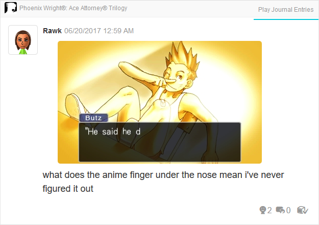 Larry Butz anime finger under nose Phoenix Wright Ace Attorney Trilogy 3DS Miiverse Capcom Nintendo