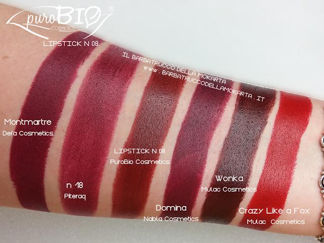 comparazioni  , lipstick n 08 ,  rossetti purobio , lipstick, vegan makeup, bio makeup