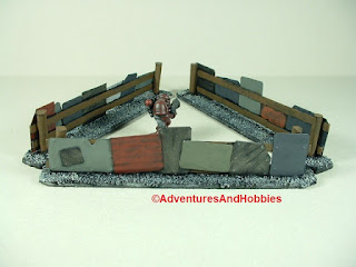 Urban 25-28mm war game terrain battlefield barricade made from scrap metal - used to create safe enclosure