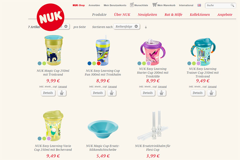 NUK Online Shop Easy Learning Trinksysteme