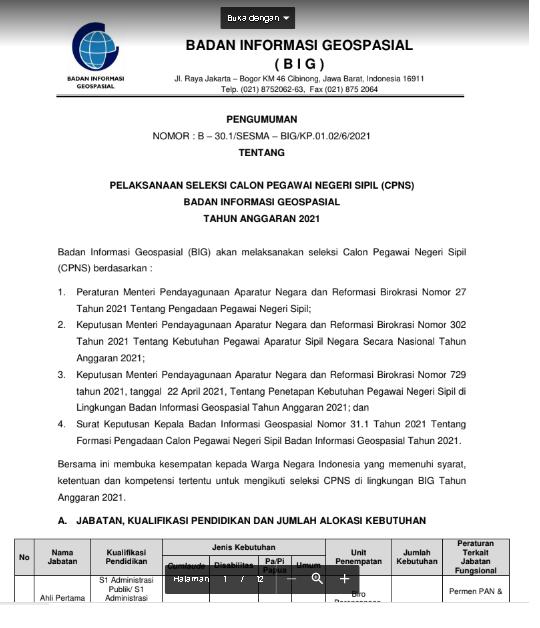 Lowongan Kerja CPNS Badan  Informasi  Geospasial  (BIG) Tahun 2021