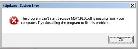 Solution for MSVCR100.dll missing wampserver error