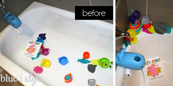 Bath tub toys before organization