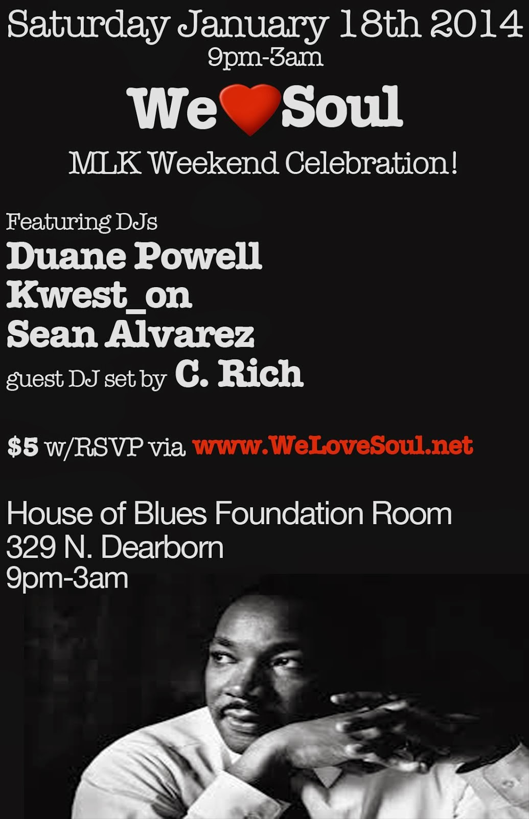 Sat Jan.18th: We Love Soul MLK Celebration!