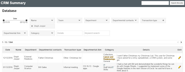 A screenshot of the CRM Summary, showing a couple of transactions
