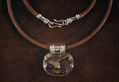 Robin Atkins - sterling silver necklace with jasper stone and leather