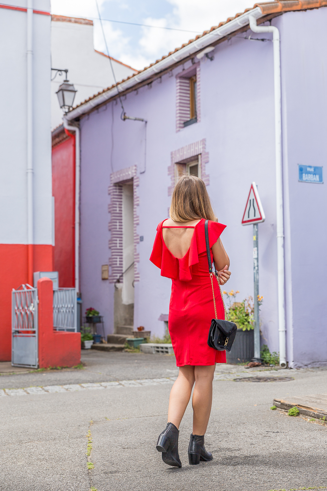 Red Dress with Back Neckline
