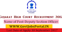 Gujarat High Court Recruitment 2017– 46 Deputy Section Officer