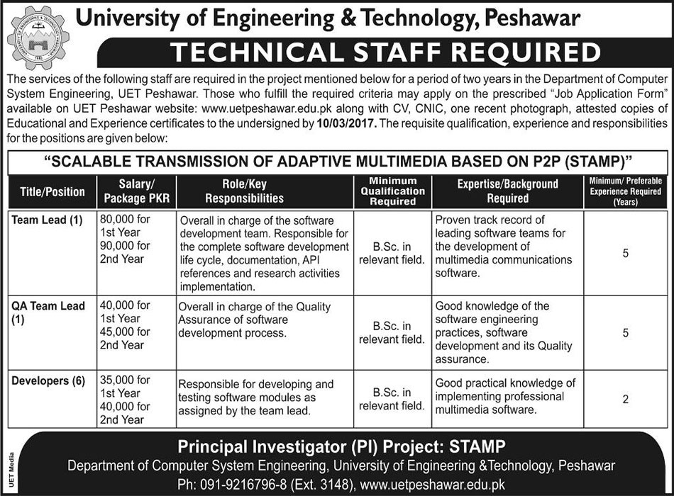 University of Engineering and Technology Peshawar Jobs 2017