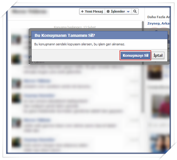 Facebook Sohbet Mesajlarını Silme