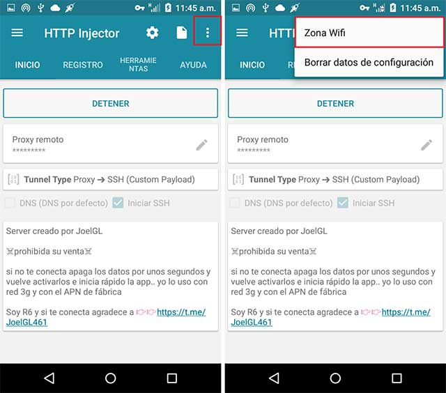 Zona WiFi http injector