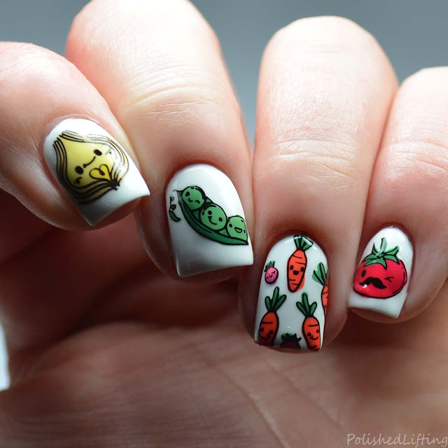 happy veggie stamped nail art
