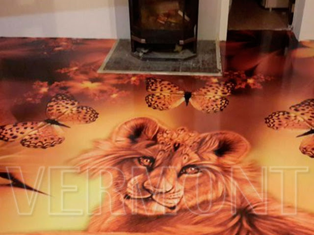 lion-themed-3d-floor-designs-for-floor-of-modern-home, lion artwork for home