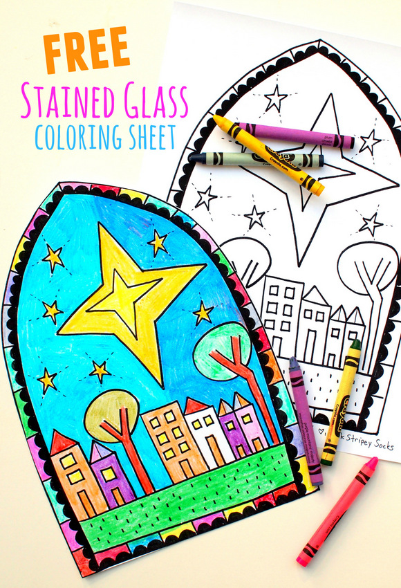 Free Christmas Stained Glass Coloring Sheet Craft- Print out design, color it in, turn it into stained glass! Great Christmas Craft