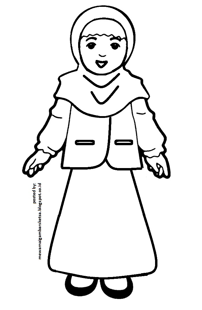 Mewarnai Gambar Mewarnai Gambar Sketsa Kartun Anak Muslimah 26