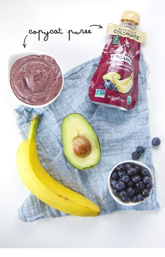 5-Minute Banana, Blueberry + Avocado Baby Puree