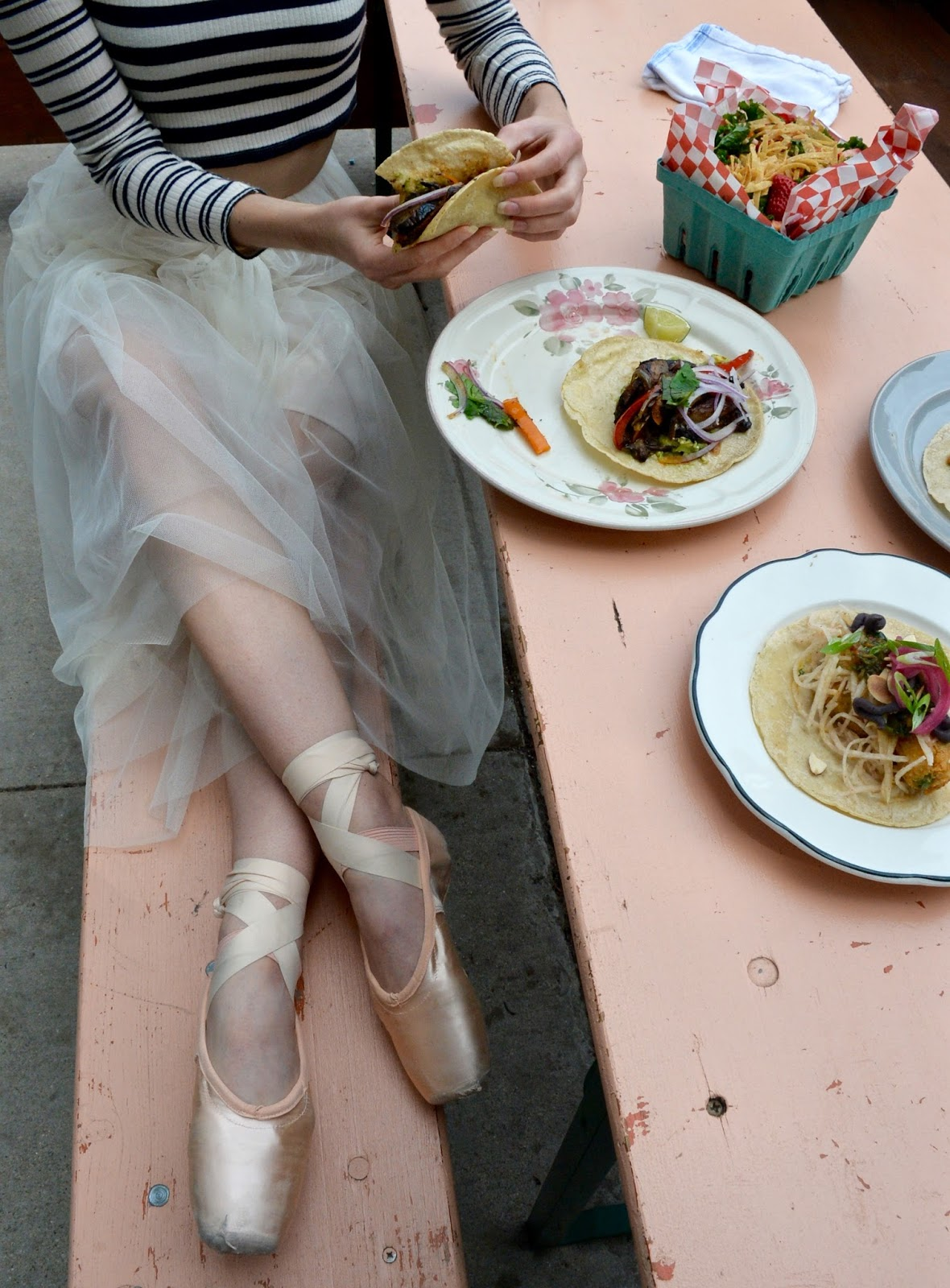 Eating tacos while wearing a tutu and pointe shoes.