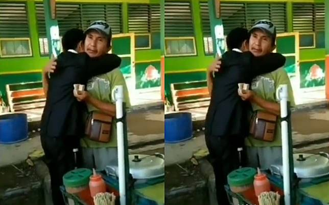 Bikin Viral, Pria Peluk ayah Saat Jualan Somay