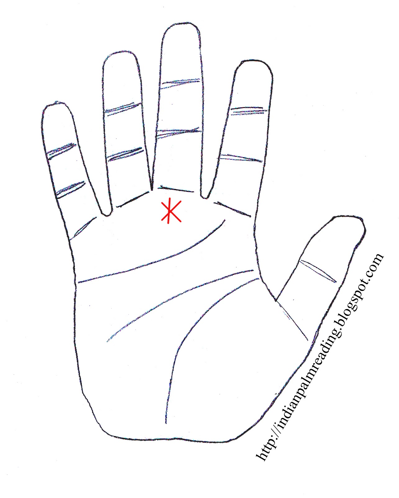 Star Mark Or Star Sign On Mount Of Saturn In Palmistry