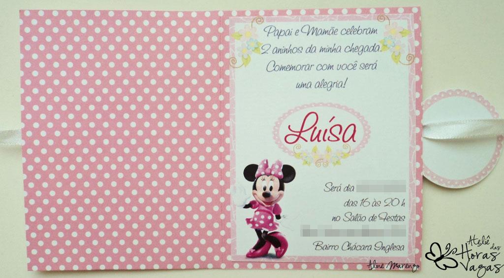 convite artesanal aniversário 1 aninho minnie mouse poá rosa pink