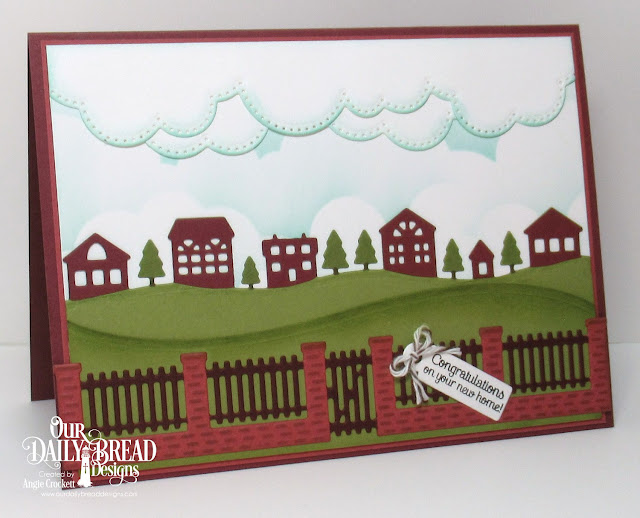 ODBD Home Sweet Home, ODBD Custom Neighborhood Border Die, ODBD Custom Brick Gate Border Die, ODBD Custom Cloud Borders Dies, ODBD Custom Curvy Slopes Dies, ODBD Custom Mini Tags and Labels Dies, Card Designer Angie Crockett